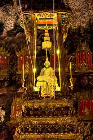 Emerald  Buddha inside Wat Phra Kaeo Temple, bangkok, Thailand.