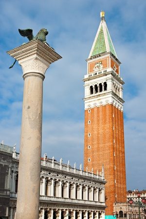 Venice, View of the Campanile in San marcos square. Italy. photo