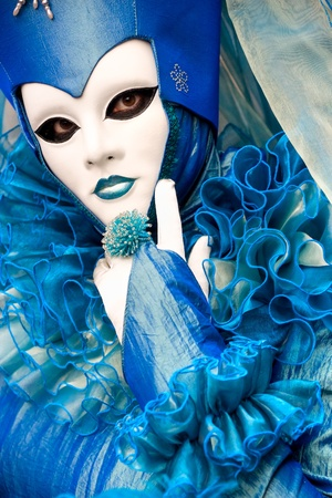 Beautiful blue mask in Venice, Italy. photo
