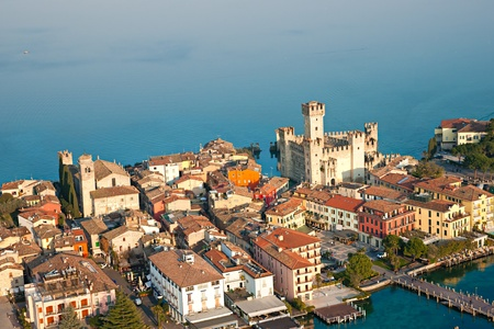 sirmione: Aerial view of the Scaliger Castle  in Sirmione by lake Garda, Italy Stock Photo