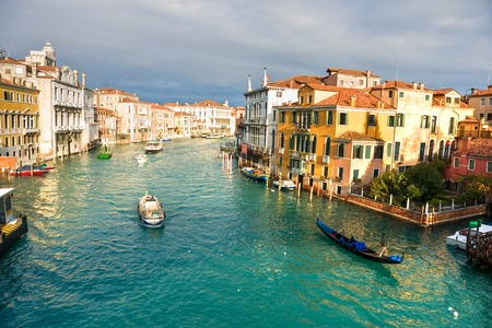 on the canal: Venice, View from Rialto Bridge. Italy. Stock Photo