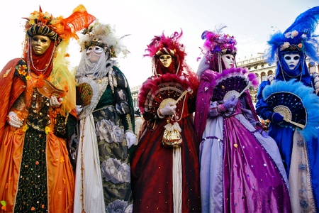 Group of masks in Venice, Italy. Stock Photo