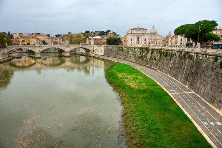 vittorio emanuele: Panoramic view of San Pietro Baqsilica and Vittorio Emanuele Bridge ,