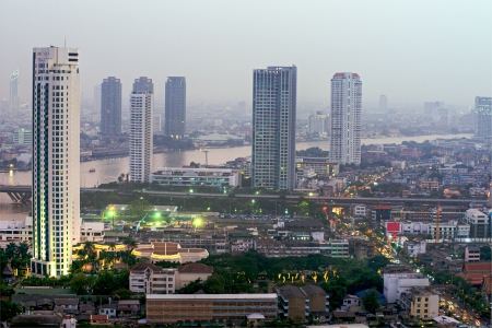 amasing: View of bangkok skyline at twilight, Thailand  Stock Photo