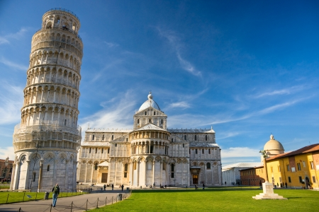 Pisa, Piazza dei miracoli, with the Basilica and the leaning tower  Shot with polarizer filter  Stock fotó