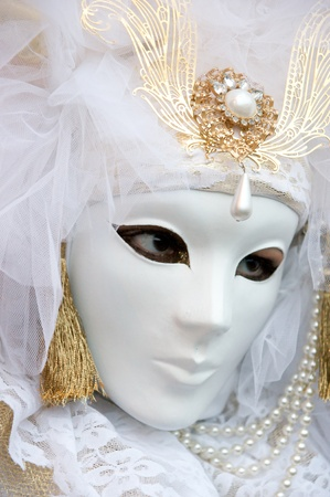 Beautiful white mask in Venice, Italy. photo