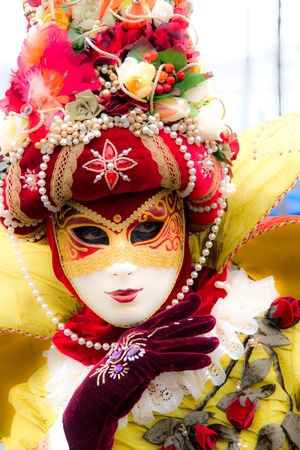 Soft focus picture of venetian carnival mask. Shot with a flou filter to make a dreaming effect. photo