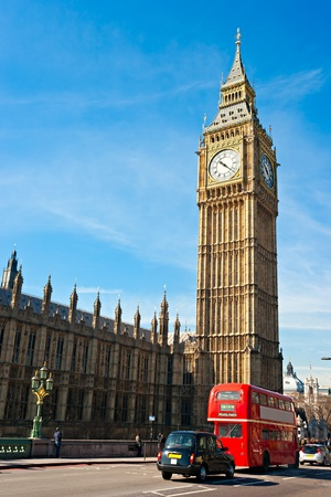 Le Big Ben, la Chambre du Parlement et le pont de Westminster pendant la nuit, London, UK. Banque d'images - 9197129