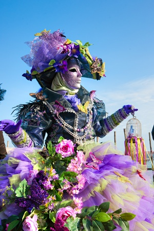 VENICE - MARCH 05  Participant in The Carnival of Venice, an annual festival that starts around two weeks before Ash Wednesday and ends on Shrove Tuesday or Mardi Gras on March 05  2011 in Venice, Italy