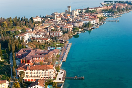 sirmione: Aerial view of the Scaliger Castle  in Sirmione by lake Garda, Italy Editorial