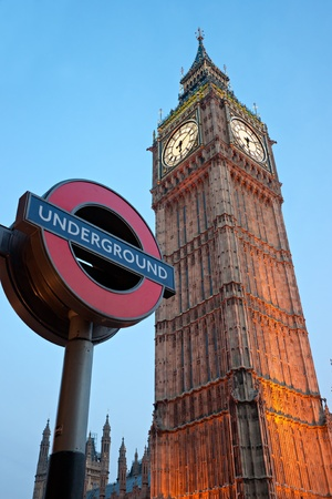 The Big Ben, with the London Underground Logo, London, UK Editorial