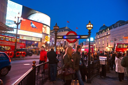 LONDON - MARCH 18 View of Piccadilly Circus on March 18, 2011 in London  Famous advertisements of TDK and Sanyo have been here for at least 20 years and are considered symbols of famous square