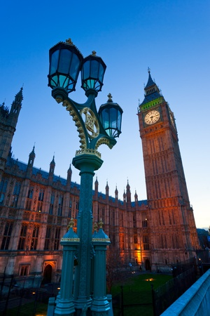 eye traveller: The Big Ben, the House of Parliament and the Westminster Bridge at night, London, UK. Editorial