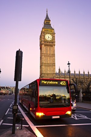 The Big Ben, the House of Parliament and the Westminster Bridge at night, London, UK Editorial