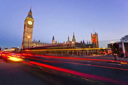 The Big Ben, the House of Parliament and the Westminster Bridge at night, London, UK. Stock Photo - 10849669