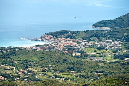 Aerial view of Marina di Campo, Elba Island. Italy. photo