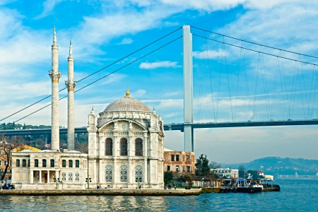bosphorus: Ortakoy mosque and Bosphorus bridge, Istanbul, Turkey.