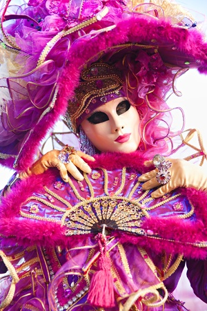 wednesday: VENICE - MARCH 05: Participant in The Carnival of Venice, an annual festival that starts around two weeks before Ash Wednesday and ends on Mardi Gras on March 05 2011 in Venice, Italy. Stock Photo