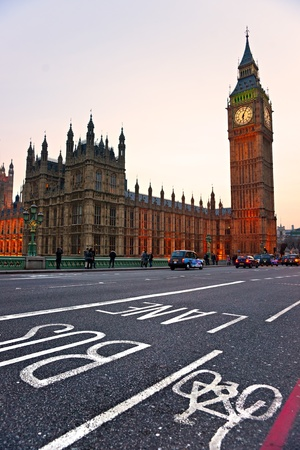 The Big Ben, the House of Parliament and the Westminster Bridge at night, London, UK. Stock Photo - 11039809