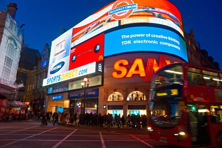 trafalgar: LONDON - MARCH 03 View of Piccadilly Circus on March 03, 2011 in London  Famous advertisements of TDK and Sanyo have been here for at least 20 years and are considered symbols of famous square