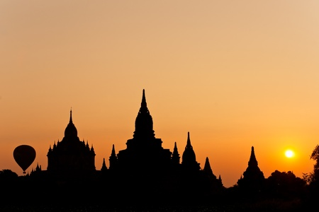 The plain of Bagan at sunset, Myanmar. photo