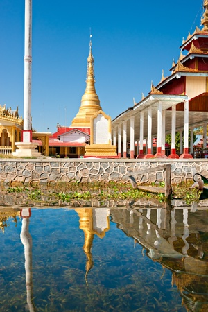 inle: view of a Buddhist temple in Inle lake,  Myanmar. Editorial