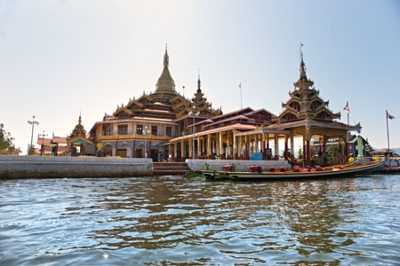 inle: View of a Buddhist temple in Inle lake,  Myanmar.
