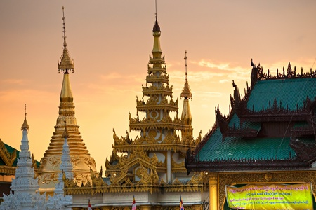 Shwedagon Paya, the most sacred buddhist temple in Myanmar,  Yangoon, Myanmar. photo