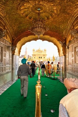 AMRITSAR, INDIA - DECEMBER 17  Sikh pilgrims in the Golden Temple during celebration day in December 17, 2007 in Amritsar, Punjab, India  Harmandir Sahib is the holiest pilgrim site for the Sikhs