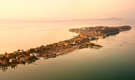 scala: Aerial view of the Scaliger Castle  in Sirmione by lake Garda, Italy Editorial