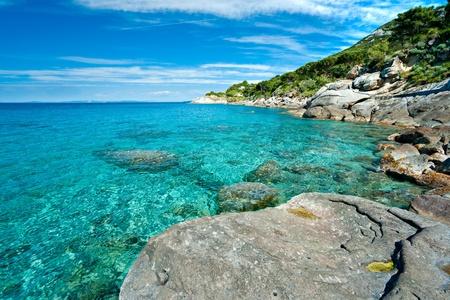 Capo Bianco plage, l'île d'Elbe. Italie.