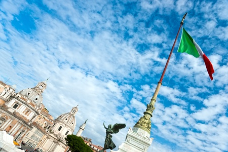 emmanuel: Wide-ngle vief of monument to Victor Emmanuel II near Vittoriano at day in Rome, Italy