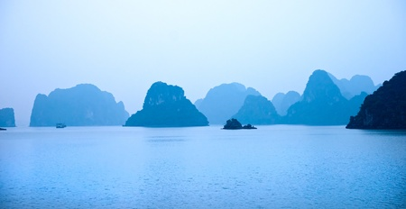 the long lake: Halong Bay, Vietnam. Unesco World Heritage Site. Most popular place in Vietnam. Stock Photo