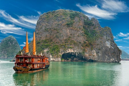 bay: Halong Bay, Vietnam. Unesco World Heritage Site. Most popular place in Vietnam. Stock Photo
