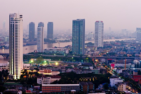 technoligy: Bangkok skyline, Thailand. Stock Photo