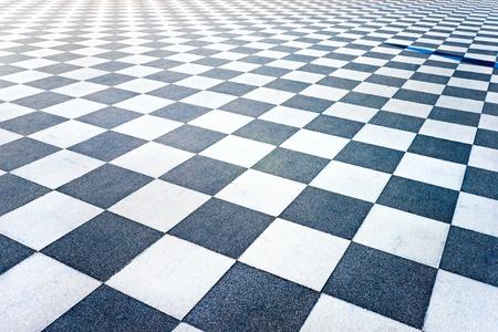 ground floor: Black and White Tiled floor of the Terrazza Mascagni, Livorno, Tuscany, Italy.