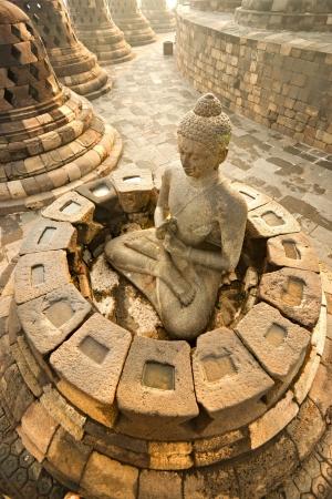 Myanmar: Temple de Borobudur au coucher du soleil. Yogyakarta, Java, en Indon�sie. Banque d'images