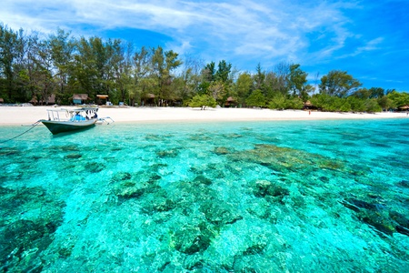 seychelles: Beautiful sea and coastlines of Gili Meno, Indonesia. Stock Photo