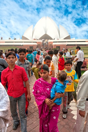 NEW DELHI . NOVEMBER 2007: People at the Bahai House of worship, known as lotus Temple in New Delhi on November 10, 2011. Inaugurated in 1986, serves as the Mother Temple of all Indian Subcontinent.