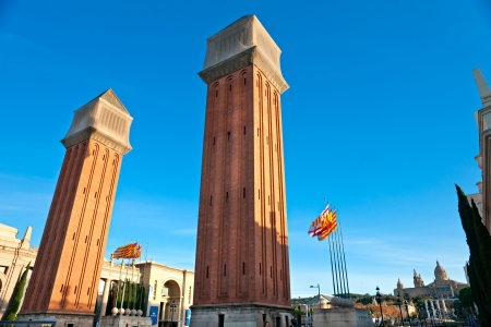 uncomplete: View of the Venetian Tower on Espanya square, Barcelona  Spain