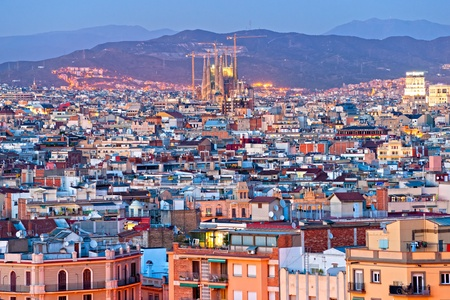 uncomplete: Night View of Barcellona from Montjuic, with the Sagrada familia. Stock Photo