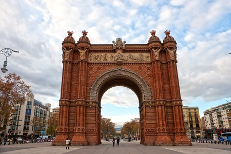 Triumphal Arch at sunset in Barcelona, Spain. Stock Photo - 11860563