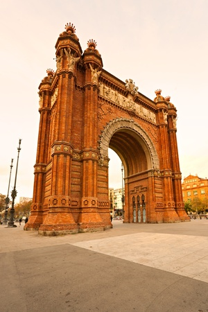 Triumphal Arch at sunset in Barcelona, Spain. photo