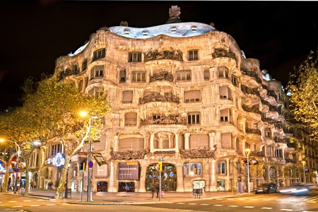 BARCELONA, SPAIN - DECEMBER 16: Casa Mila, or La Pedrera, on December 16, 2011 in Barcelona, Spain. This famous building was designed by Antoni Gaudi