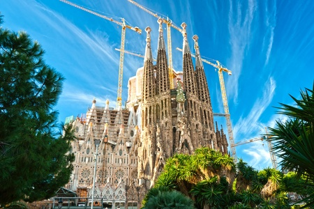 BARCELONA, SPAIN - DECEMBER 14: La Sagrada Familia - the impressive cathedral designed by Gaudi, which is being build since 19 March 1882 and is not finished yet December 14, 2009 in Barcelona, Spain. Stock Photo - 11848711