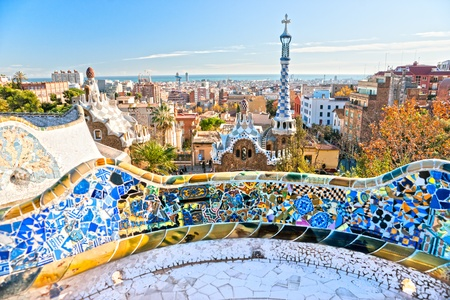 barcelona cathedral: Park Guell in Barcelona, Spain. Stock Photo
