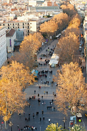 Aerial view of La Rambla of Barcelona, Spain Stock Photo - 11848720