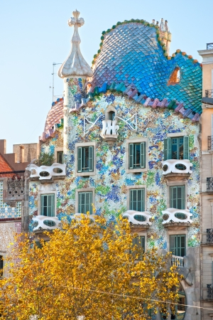 BARCELONA - DECEMBER 16  The facade of the house Casa Battlo  also could the house of bones  designed by Antoni Gaudi­ with his famous expressionistic style on December 16, 2011 Barcelona, Spain