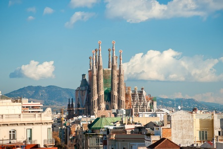 uncomplete: BARCELONA, SPAIN - DECEMBER 14: La Sagrada Familia - the impressive cathedral designed by Gaudi, which is being build since 19 March 1882 and is not finished yet December 14, 2009 in Barcelona, Spain.