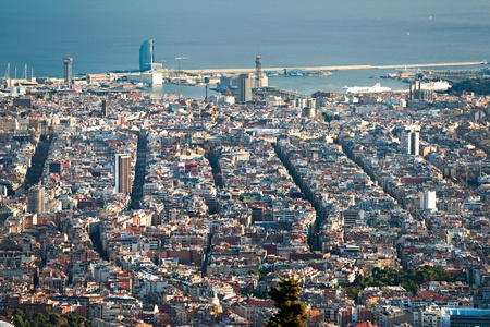 View of barcelona from Tibidano, Barcelona, Spain. photo